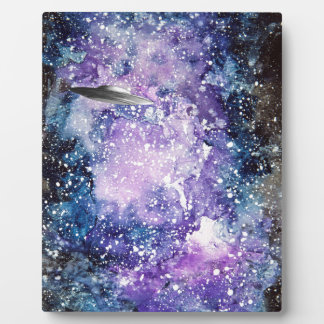 UFO in space artwork Plaque