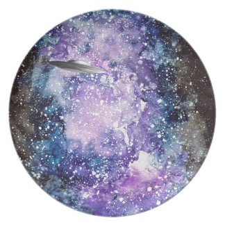 UFO in space artwork Plate