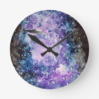 UFO in space artwork Round Clock