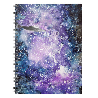 UFO in space artwork Spiral Notebooks