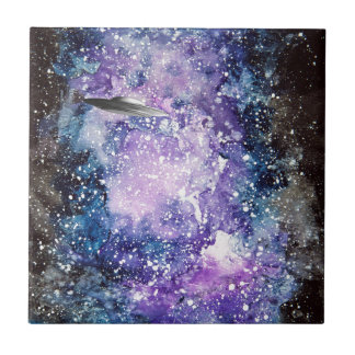 UFO in space artwork Tile
