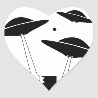 UFO Invasion Heart Sticker