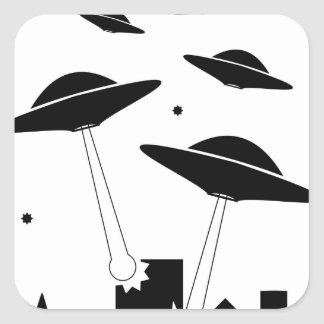 UFO Invasion Square Sticker