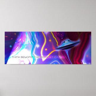 "UFO Magenta Dimension 36"" x 12"" Horizontal Poster"