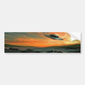 UFO Over Coast Bumper Stickers