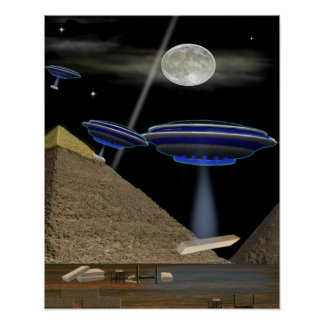 UFO pyramid Builders Poster