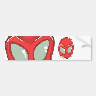 UFO Red Galactic Martian Alien Head Bumper Sticker