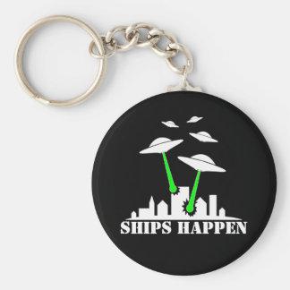UFO Ships Happen Basic Round Button Keychain