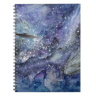 UFO spaceship in space Notebook