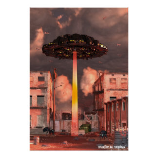 UFO Spaceship Invasion Poster