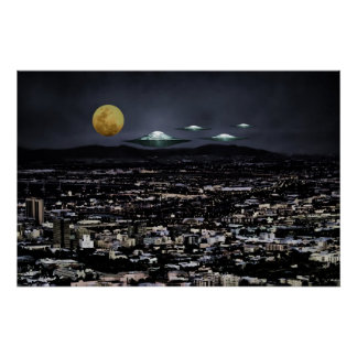 UFO spaceships come to earth Print