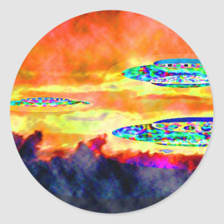 UFO Sunrise Classic Round Sticker
