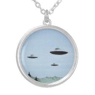 UFO Trio Silver Plated Necklace