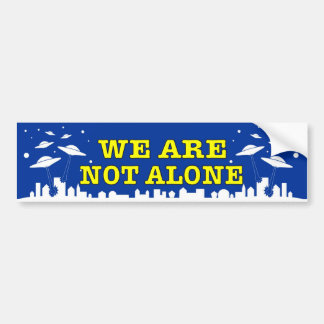 UFO We are not alone decal with ET spacecraft Bumper Sticker
