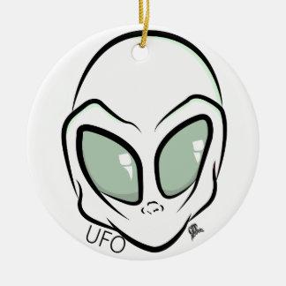 UFO White Galactic Martian Alien Head Ceramic Ornament