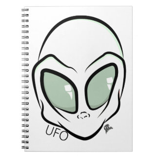 UFO White Galactic Martian Alien Head Spiral Notebook