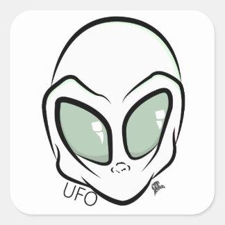 UFO White Galactic Martian Alien Head Square Sticker