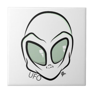 UFO White Galactic Martian Alien Head Tile