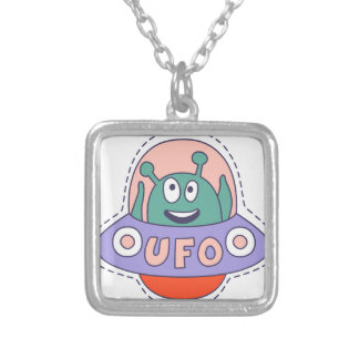 UFO With Alien Silver Plated Necklace