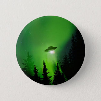 UFO with Northern Lights 2 Inch Round Button
