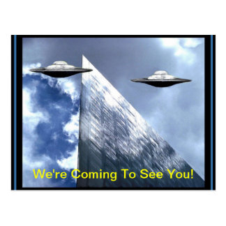 UFOs Visiting Earth Postcard