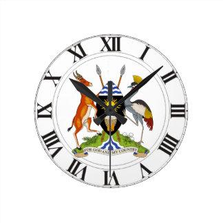 Uganda Coat of Arms Round Clock