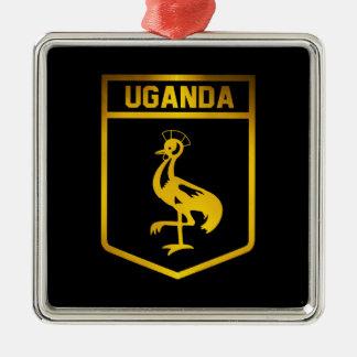 Uganda Emblem Silver-Colored Square Ornament