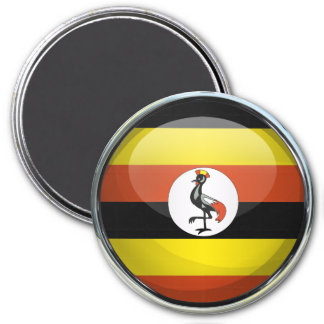 Uganda Flag Glass Ball 3 Inch Round Magnet