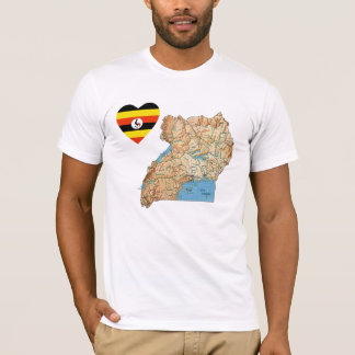 Uganda Flag Heart and Map T-Shirt