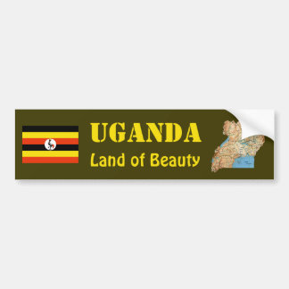 Uganda Flag + Map Bumper Sticker
