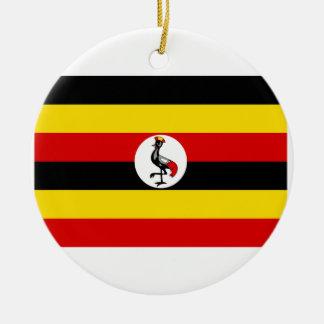 Uganda Flag Round Ceramic Ornament