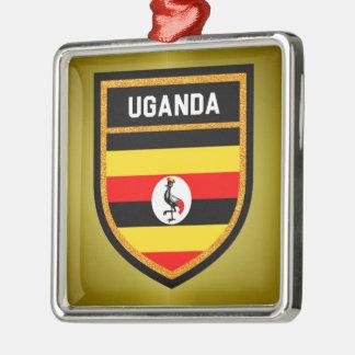 Uganda Flag Silver-Colored Square Ornament