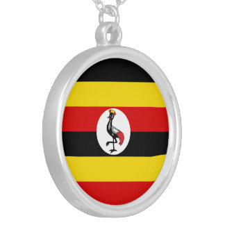 Uganda Flag Silver Plated Necklace
