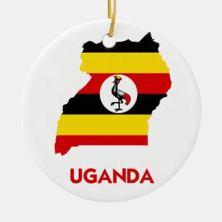 UGANDA MAP ROUND CERAMIC ORNAMENT