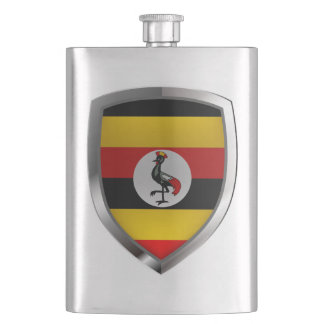 Uganda Metallic Emblem Hip Flask