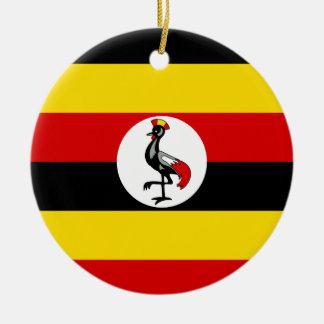 Uganda National World Flag Round Ceramic Ornament