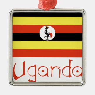 Uganda Silver-Colored Square Ornament