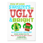 """Ugly and Bright Christmas Sweaters Party 5"""" X 7"""" Invitation Card"""