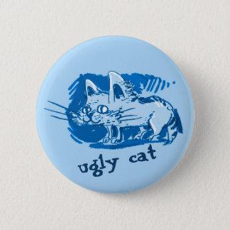 ugly cat weird kitty cartoon 2 inch round button