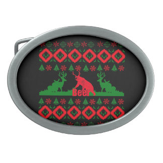 Ugly Christmas beer Oval Belt Buckles