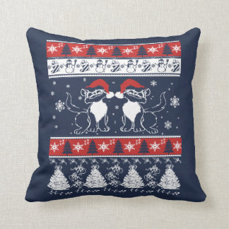 Ugly Christmas Design with Crazy Cats Throw Pillow
