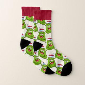 Ugly Christmas Socks Green Monster with Santa Hat 1