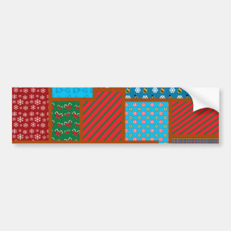 Ugly christmas square pattern bumper sticker