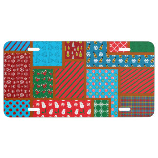 Ugly christmas square pattern license plate