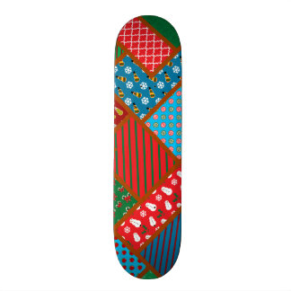 Ugly christmas square pattern skate board
