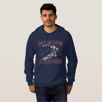 Ugly Christmas Surfing Oh What Fun it is to Ride Hoodie