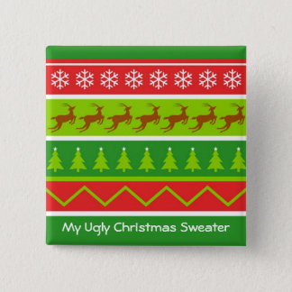 Ugly Christmas Sweater 2 Inch Square Button