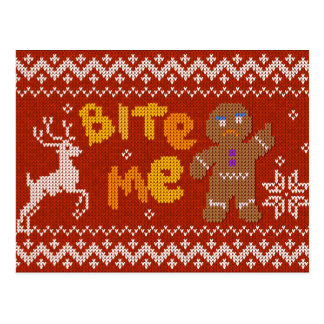 Ugly Christmas Sweater: Bite Me Gingerbread Man Postcard