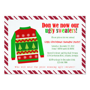 Ugly Sweater Christmas Invitations Announcements Zazzle Ca