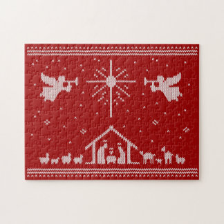 Ugly Christmas Sweater Design Nativity Religious Jigsaw Puzzle